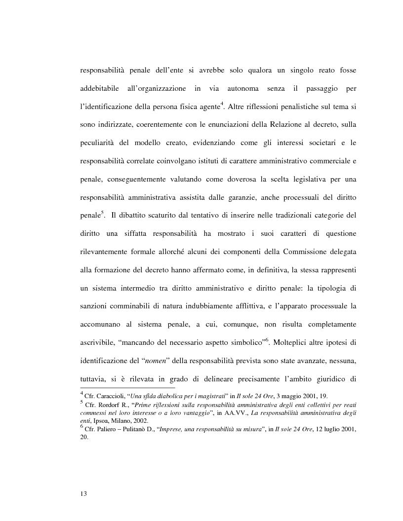 Anteprima della tesi: La responsabilità amministrativa degli enti dipendente da reato: il modello organizzativo, di gestione e di controllo, Pagina 10
