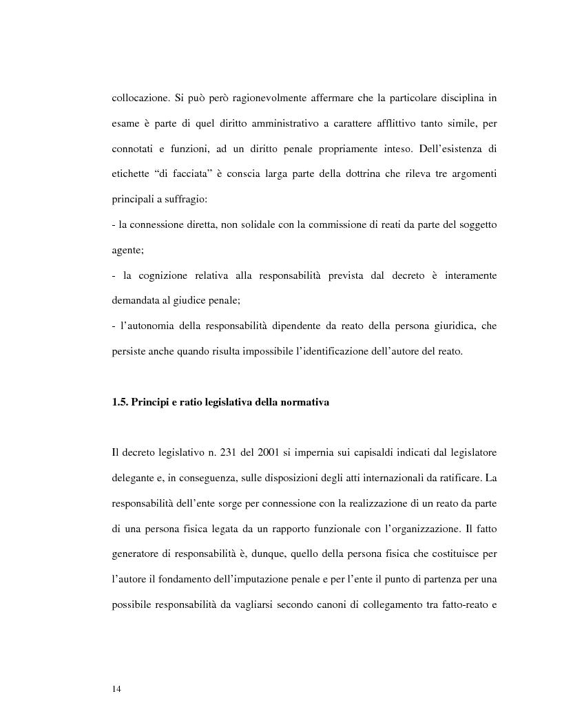 Anteprima della tesi: La responsabilità amministrativa degli enti dipendente da reato: il modello organizzativo, di gestione e di controllo, Pagina 11