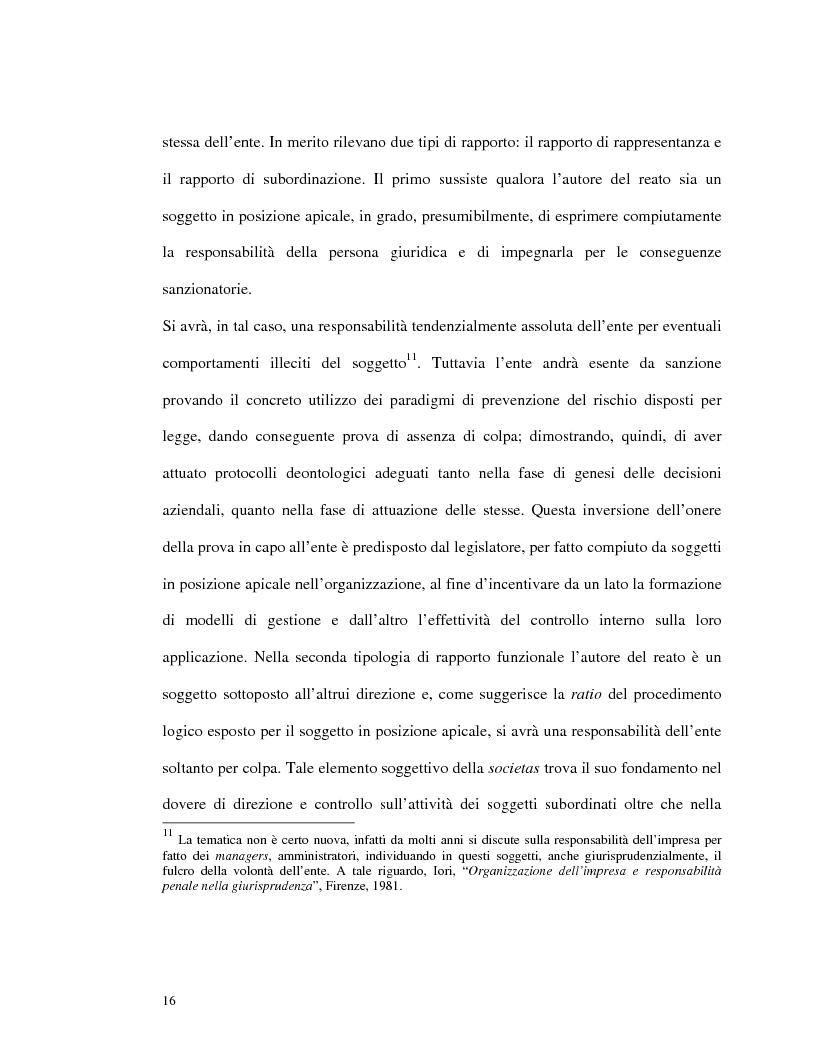 Anteprima della tesi: La responsabilità amministrativa degli enti dipendente da reato: il modello organizzativo, di gestione e di controllo, Pagina 13