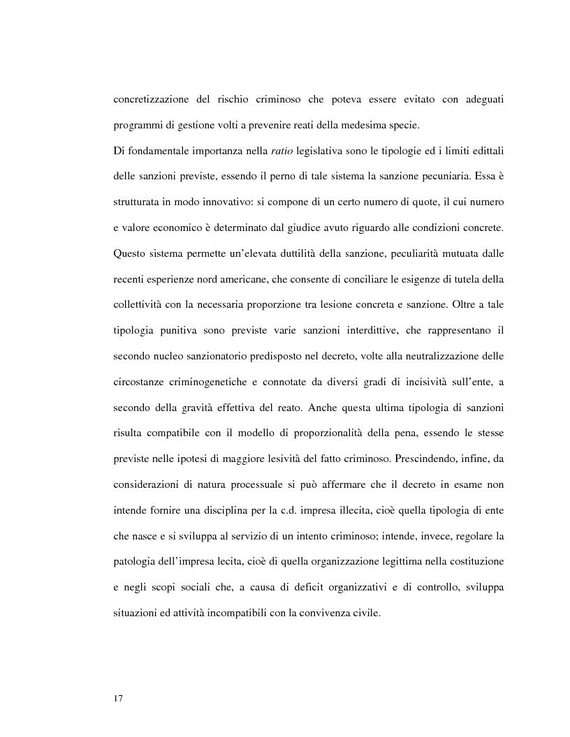 Anteprima della tesi: La responsabilità amministrativa degli enti dipendente da reato: il modello organizzativo, di gestione e di controllo, Pagina 14