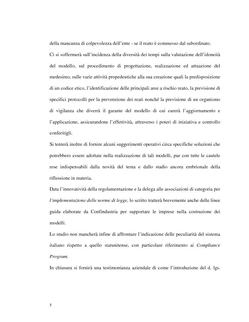 Anteprima della tesi: La responsabilità amministrativa degli enti dipendente da reato: il modello organizzativo, di gestione e di controllo, Pagina 2