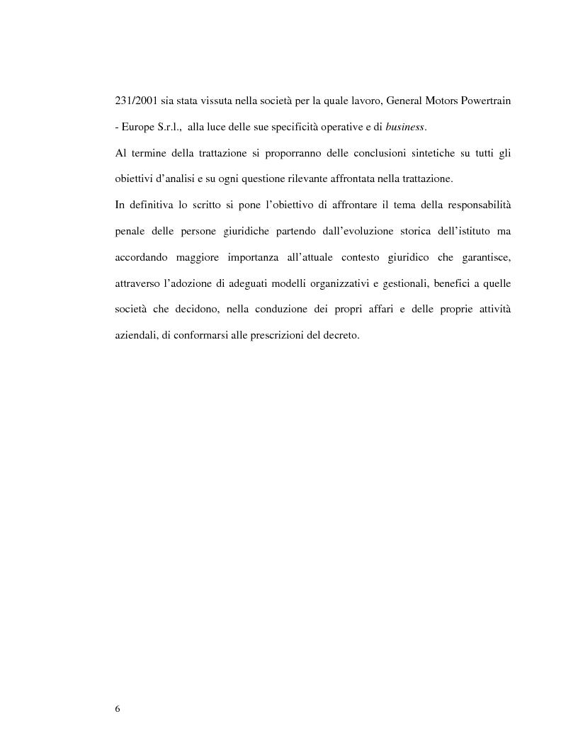 Anteprima della tesi: La responsabilità amministrativa degli enti dipendente da reato: il modello organizzativo, di gestione e di controllo, Pagina 3