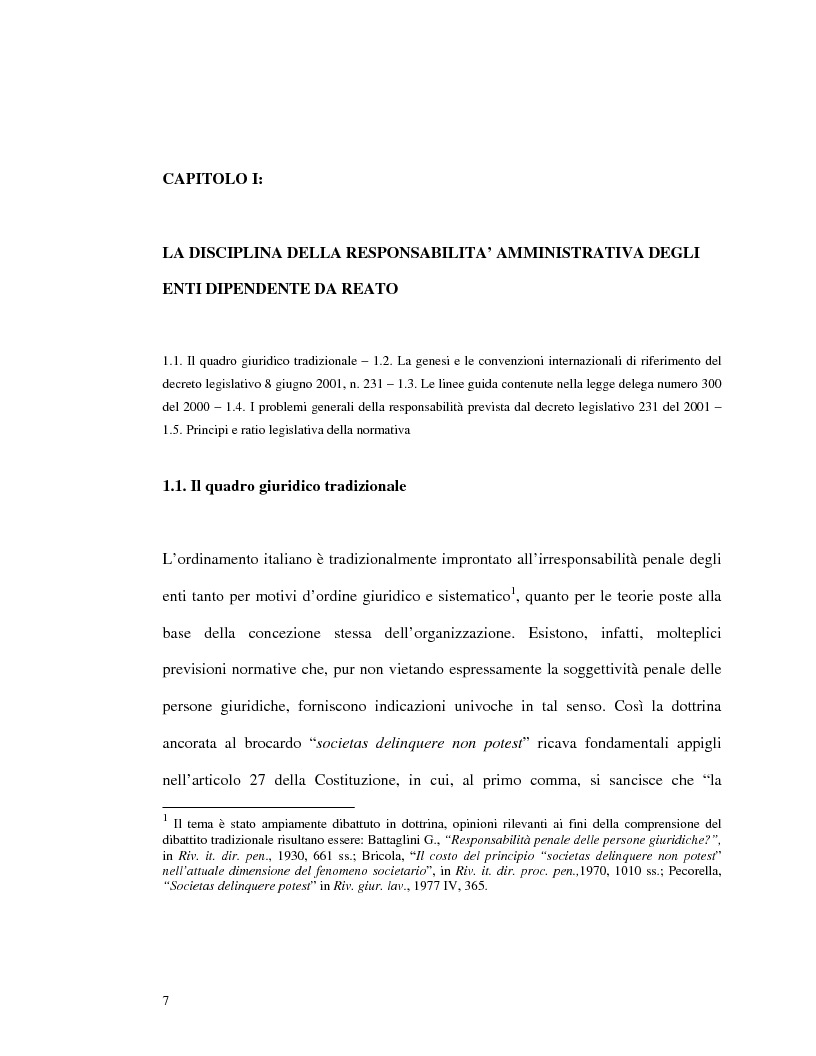 Anteprima della tesi: La responsabilità amministrativa degli enti dipendente da reato: il modello organizzativo, di gestione e di controllo, Pagina 4