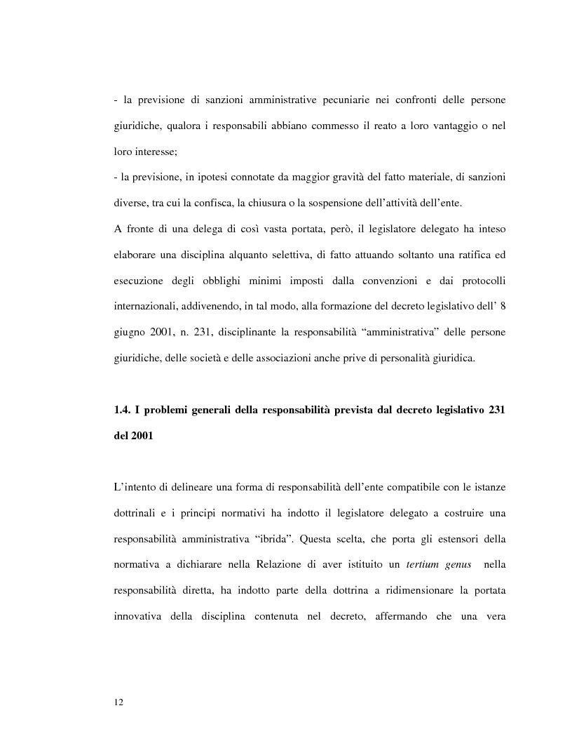 Anteprima della tesi: La responsabilità amministrativa degli enti dipendente da reato: il modello organizzativo, di gestione e di controllo, Pagina 9