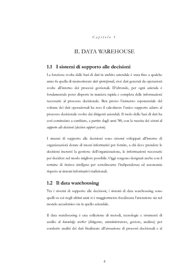 Anteprima della tesi: Progettazione di un Data Warehouse per il supporto all'analisi, Pagina 1