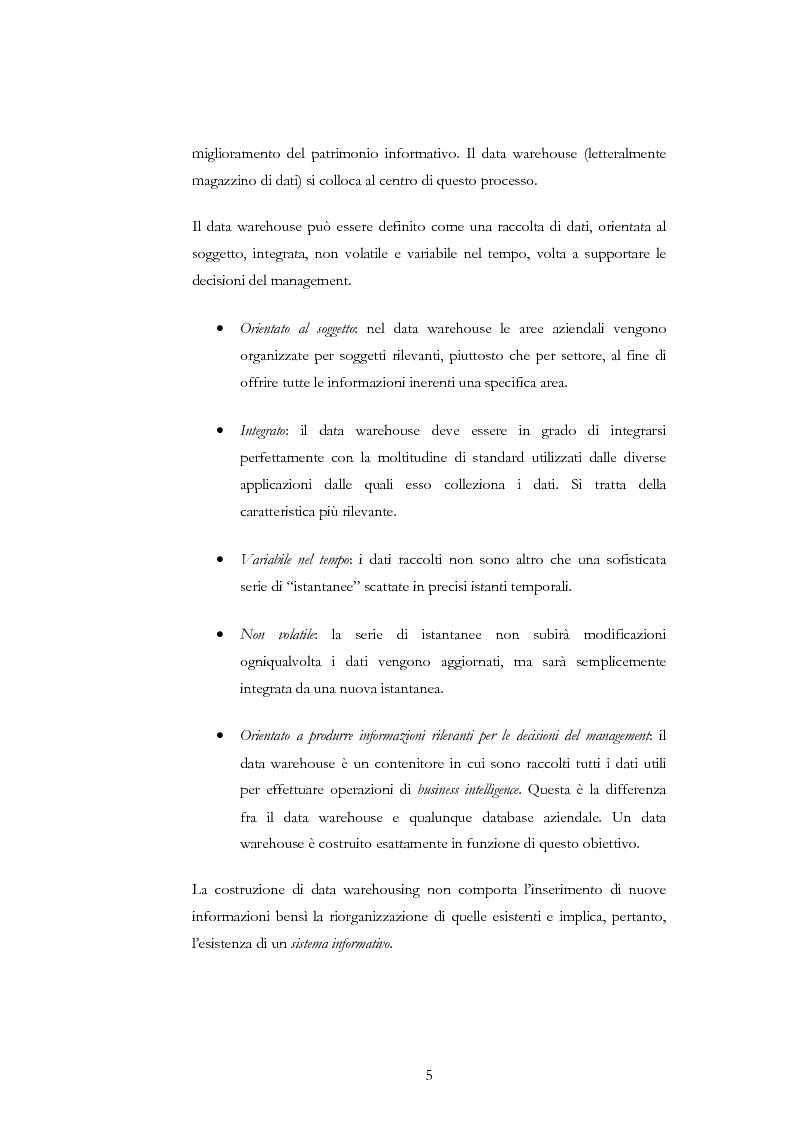 Anteprima della tesi: Progettazione di un Data Warehouse per il supporto all'analisi, Pagina 2