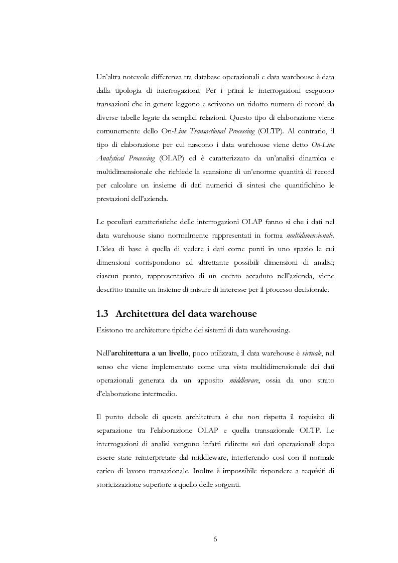 Anteprima della tesi: Progettazione di un Data Warehouse per il supporto all'analisi, Pagina 3