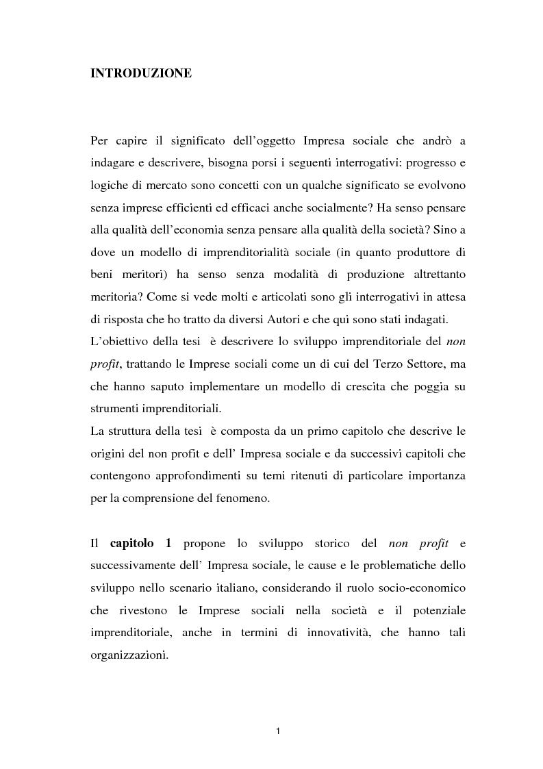 Anteprima della tesi: Alla ricerca dell'Impresa sociale, Pagina 1