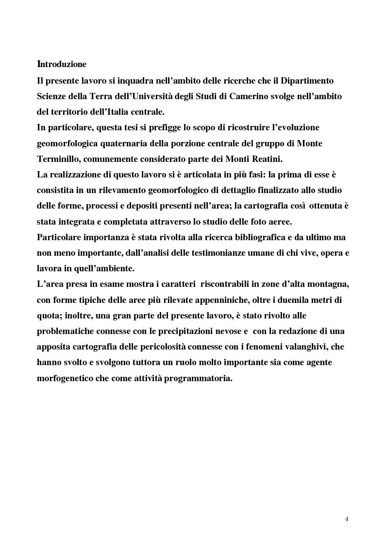 Anteprima della tesi: Rilevamento geomorfologico della porzione centrale del gruppo di Monte Termino (Appennino Centrale) e carta di localizzazione probabile delle valanghe, Pagina 1