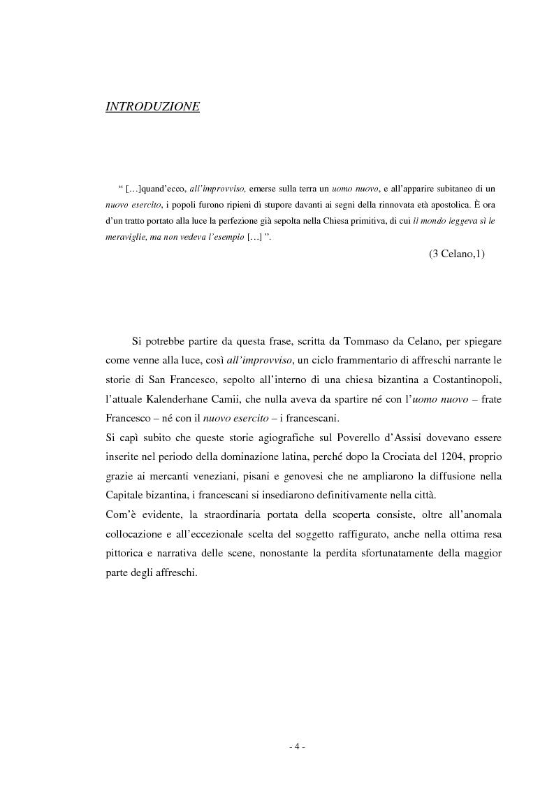 Anteprima della tesi: Il ciclo di affreschi con le storie di San Francesco d'Assisi alla Kalenderhane Camii in Istanbul, Pagina 1