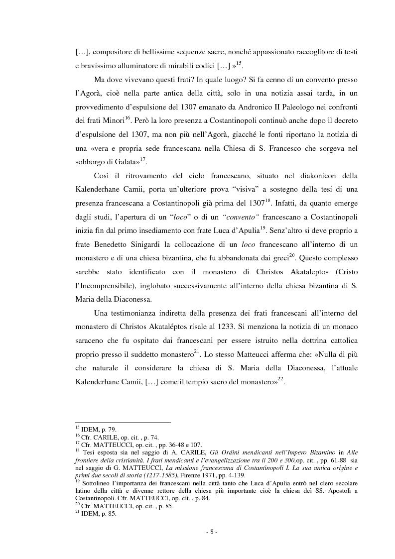 Anteprima della tesi: Il ciclo di affreschi con le storie di San Francesco d'Assisi alla Kalenderhane Camii in Istanbul, Pagina 5