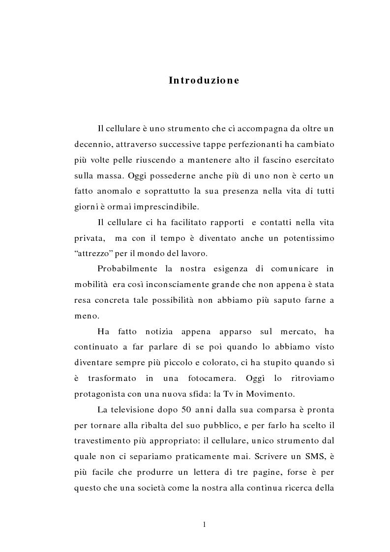 Anteprima della tesi: TV MOBILE: provocazione o nuova modalità di fruizione del mezzo televisivo?, Pagina 1