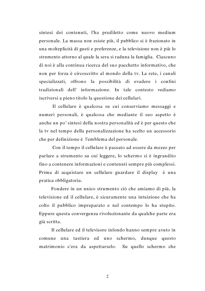 Anteprima della tesi: TV MOBILE: provocazione o nuova modalità di fruizione del mezzo televisivo?, Pagina 2