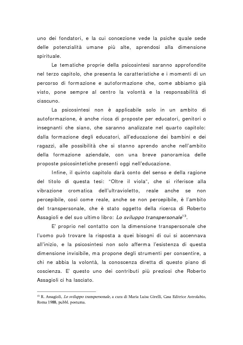 Anteprima della tesi: Oltre il viola. La psicosintesi, strumento pedagogico del nostro tempo, Pagina 6