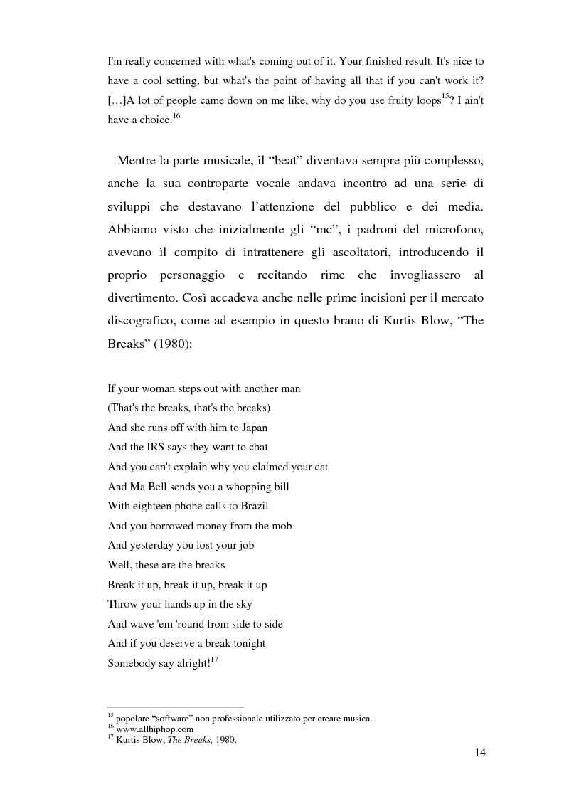 Anteprima della tesi: ''Blood of a Slave, Heart of a King'': la rilevanza poetica della rap music nel contesto americano contemporaneo, Pagina 12