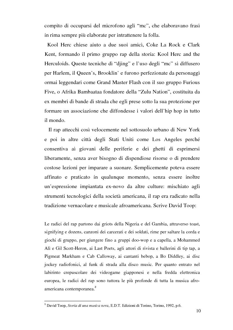 Anteprima della tesi: ''Blood of a Slave, Heart of a King'': la rilevanza poetica della rap music nel contesto americano contemporaneo, Pagina 8