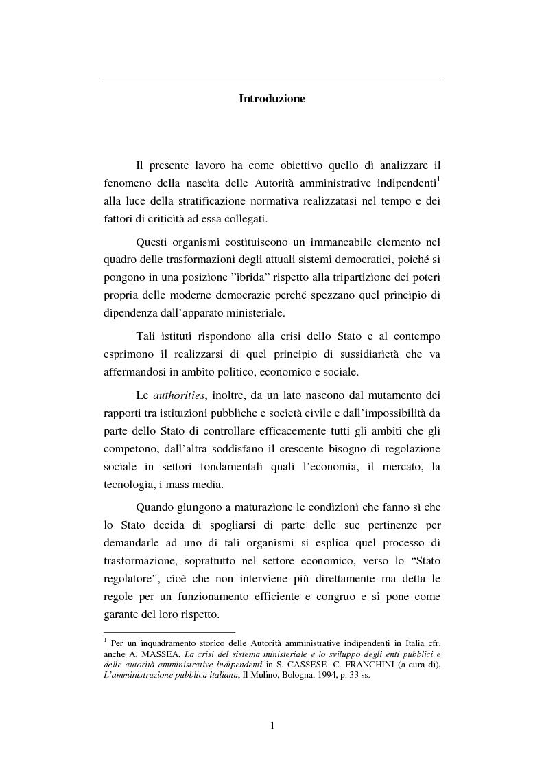 Anteprima della tesi: Le Autorità amministrative indipendenti in Italia: modelli, vantaggi e rischi, Pagina 1