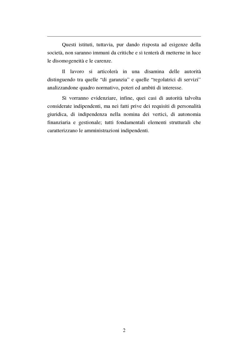 Anteprima della tesi: Le Autorità amministrative indipendenti in Italia: modelli, vantaggi e rischi, Pagina 2