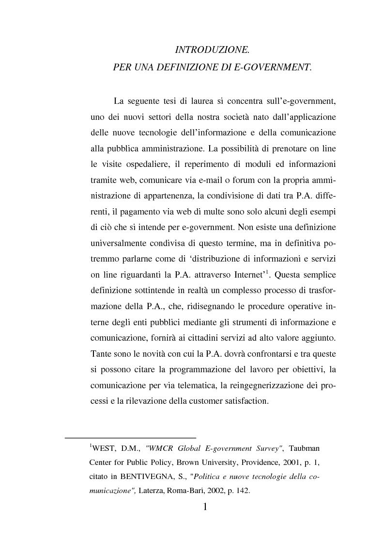 Anteprima della tesi: Il ruolo dell'usabilità nella progettazione dei servizi di e-government, Pagina 1