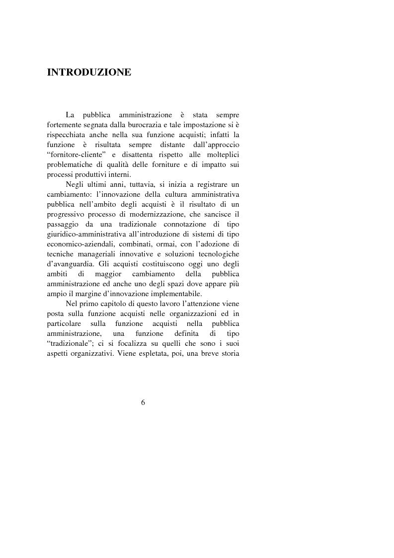 Anteprima della tesi: Gli approvvigionamenti nella Pubblica Amministrazione: alcuni aspetti organizzativi, Pagina 1