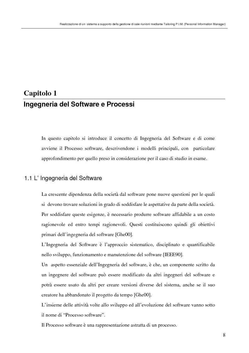 Anteprima della tesi: Realizzazione di un sistema a supporto della gestione di sale riunioni mediante Tailoring di tool P.I.M. (Personal Information Manager), Pagina 4