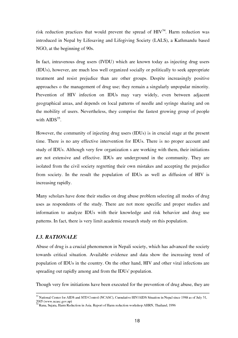 Anteprima della tesi: A study of knowledge and behaviour in relation to the risk of HIV among injecting drug users in Bhaktapur district of Nepal, Pagina 10
