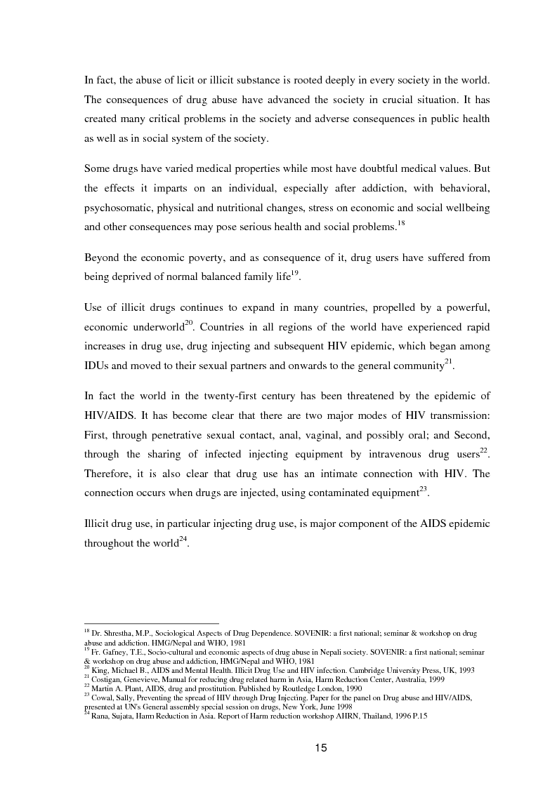 Anteprima della tesi: A study of knowledge and behaviour in relation to the risk of HIV among injecting drug users in Bhaktapur district of Nepal, Pagina 7
