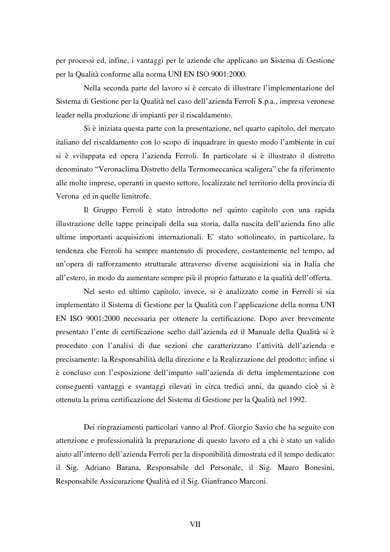 Anteprima della tesi: Certificazione del Sistema di Gestione per la Qualità: l'implementazione in Ferroli S.p.A., Pagina 3
