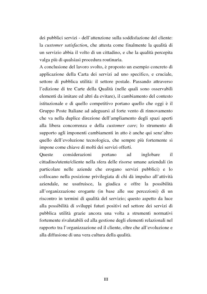Anteprima della tesi: Evoluzione della qualità nei Servizi Pubblici. Strumenti normativi e soluzioni manageriali: il caso Poste Italiane, Pagina 3