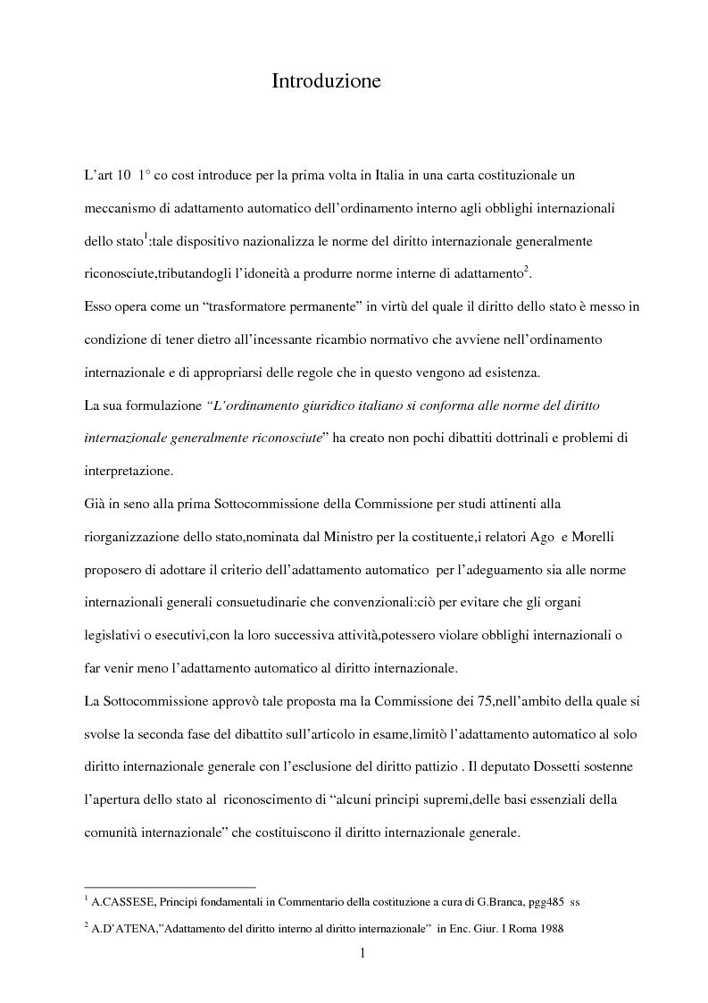 Anteprima della tesi: Il rispetto del diritto internazionale da parte del legislatore, Pagina 1