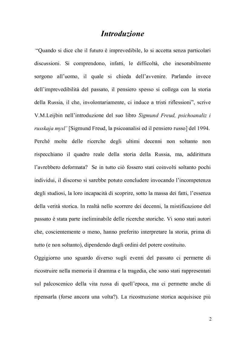 Anteprima della tesi: La Psicoanalisi in Russia: nascita, sviluppo e oblio, Pagina 1