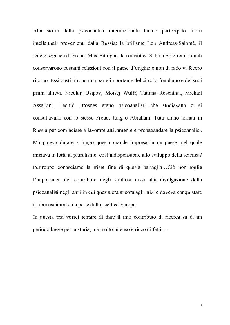 Anteprima della tesi: La Psicoanalisi in Russia: nascita, sviluppo e oblio, Pagina 4