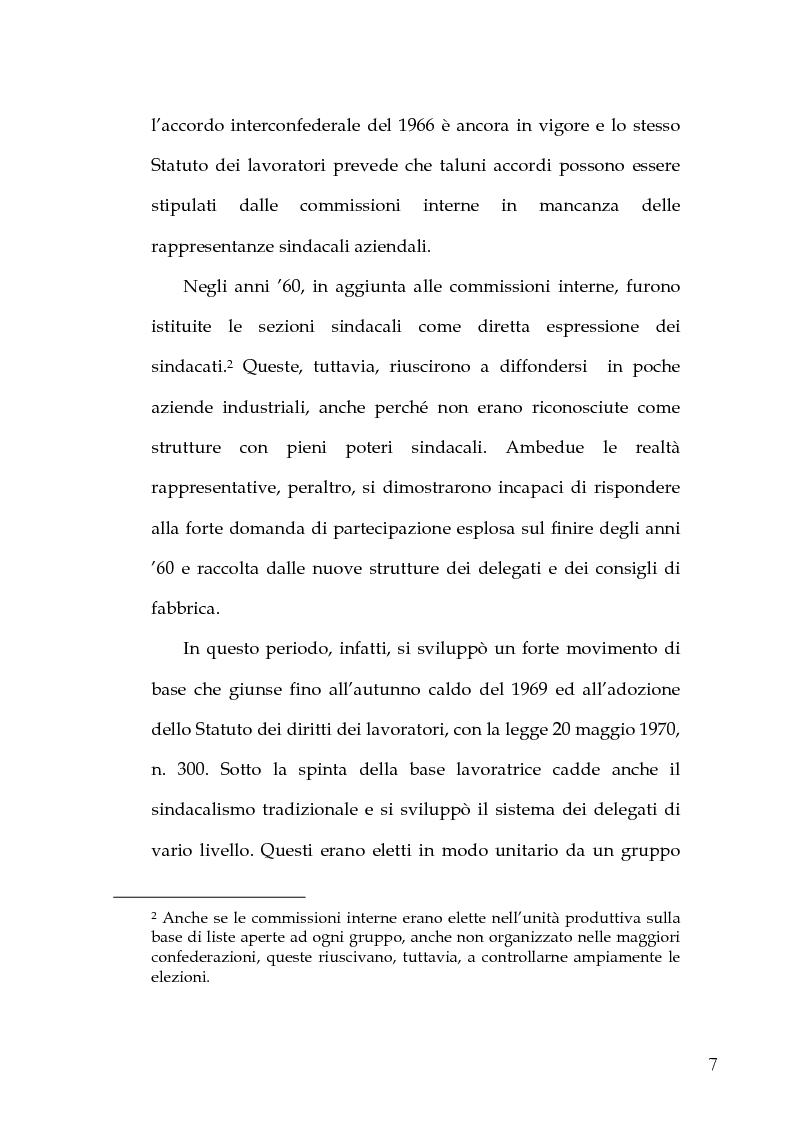 Anteprima della tesi: Le Rappresentanze Sindacali Unitarie nella Pubblica Amministrazione, Pagina 5