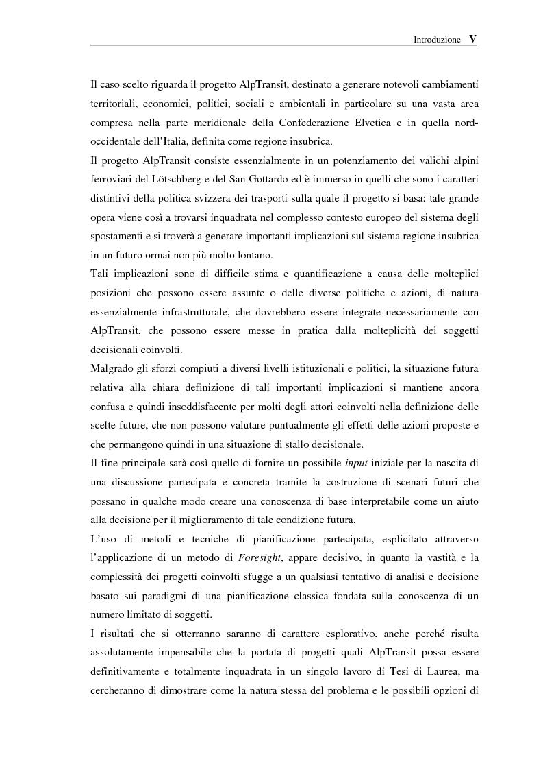 Anteprima della tesi: Le NTIC nella pianificazione partecipata. Applicazione di un metodo di Foresight alla pianificazione: progetto AlpTransit e regione insubrica., Pagina 4