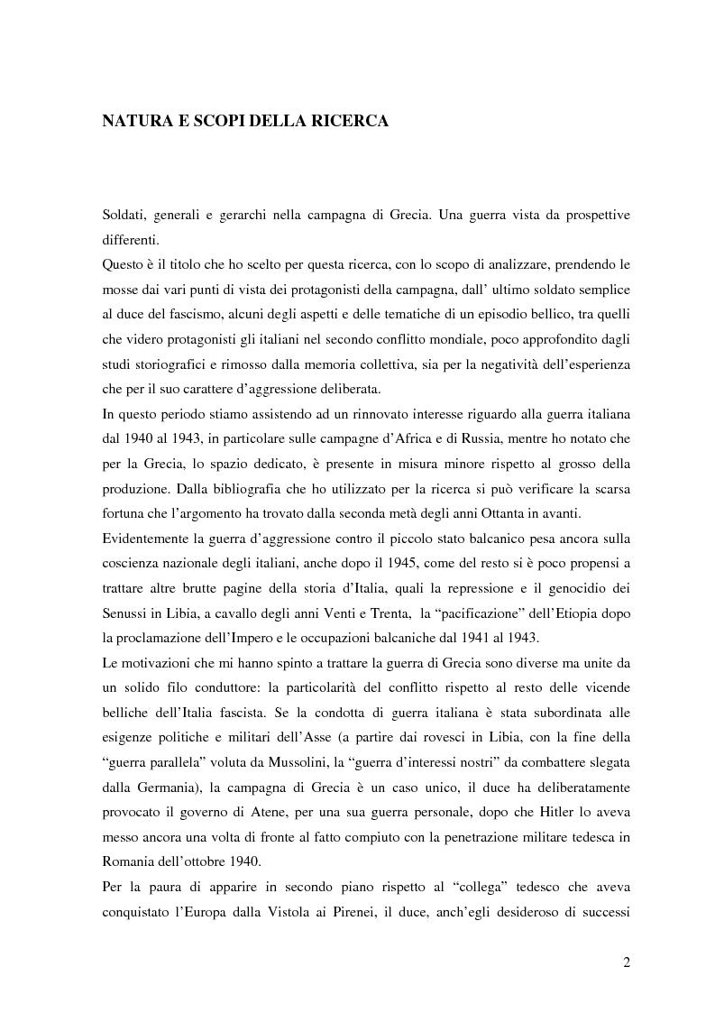 Anteprima della tesi: Soldati, generali e gerarchi nella campagna di Grecia. Aspetti e tematiche di una guerra vista da prospettive differenti, Pagina 1