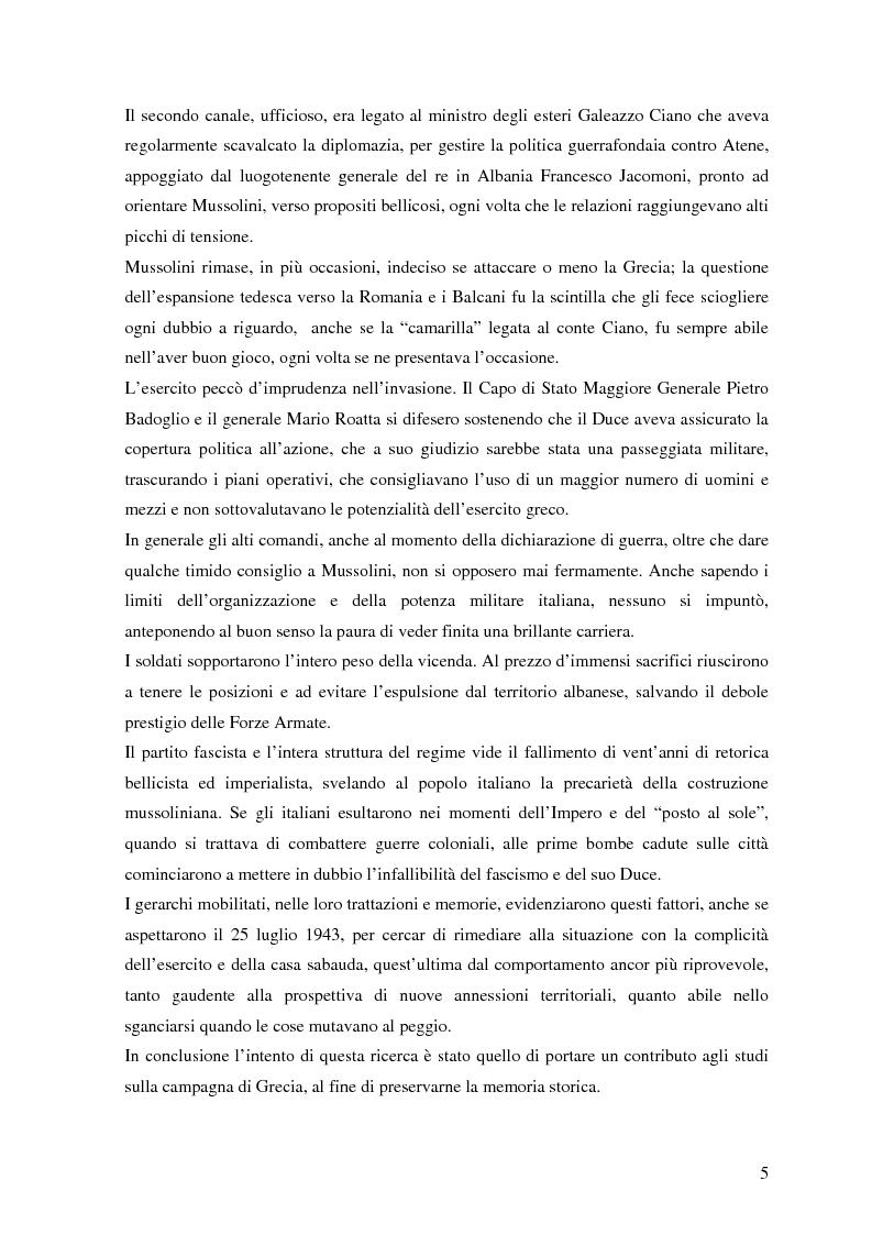 Anteprima della tesi: Soldati, generali e gerarchi nella campagna di Grecia. Aspetti e tematiche di una guerra vista da prospettive differenti, Pagina 4