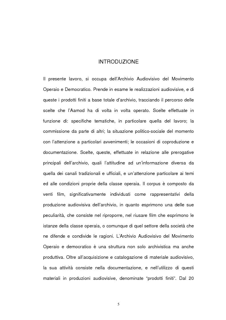 Anteprima della tesi: Archivio audiovisivo del movimento operaio e democratico: vent'anni di produzioni, Pagina 1