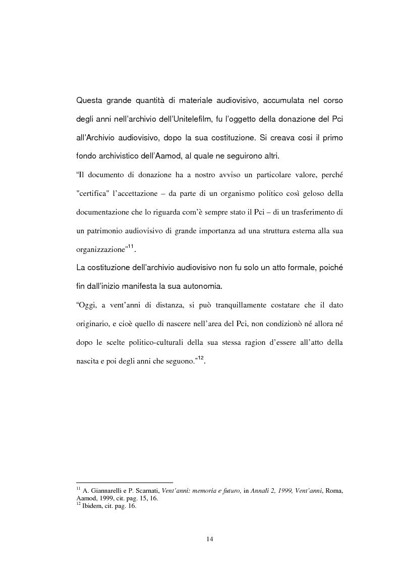 Anteprima della tesi: Archivio audiovisivo del movimento operaio e democratico: vent'anni di produzioni, Pagina 10