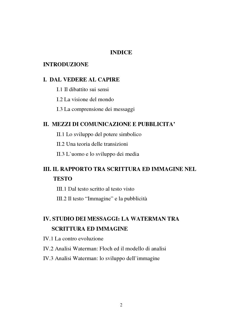 Indice della tesi: Pubblicità tra oralità e scrittura - Dall'immagine allo scritto fino a giungere all'immagine - Il caso Dolce e Gabbana, Pagina 1