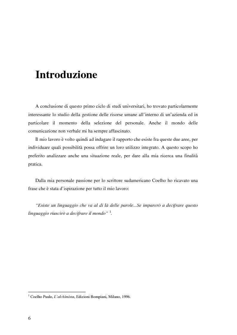 Anteprima della tesi: Il ruolo della comunicazione non verbale nel processo di selezione del personale. Il caso delle agenzie di lavoro interinale., Pagina 1