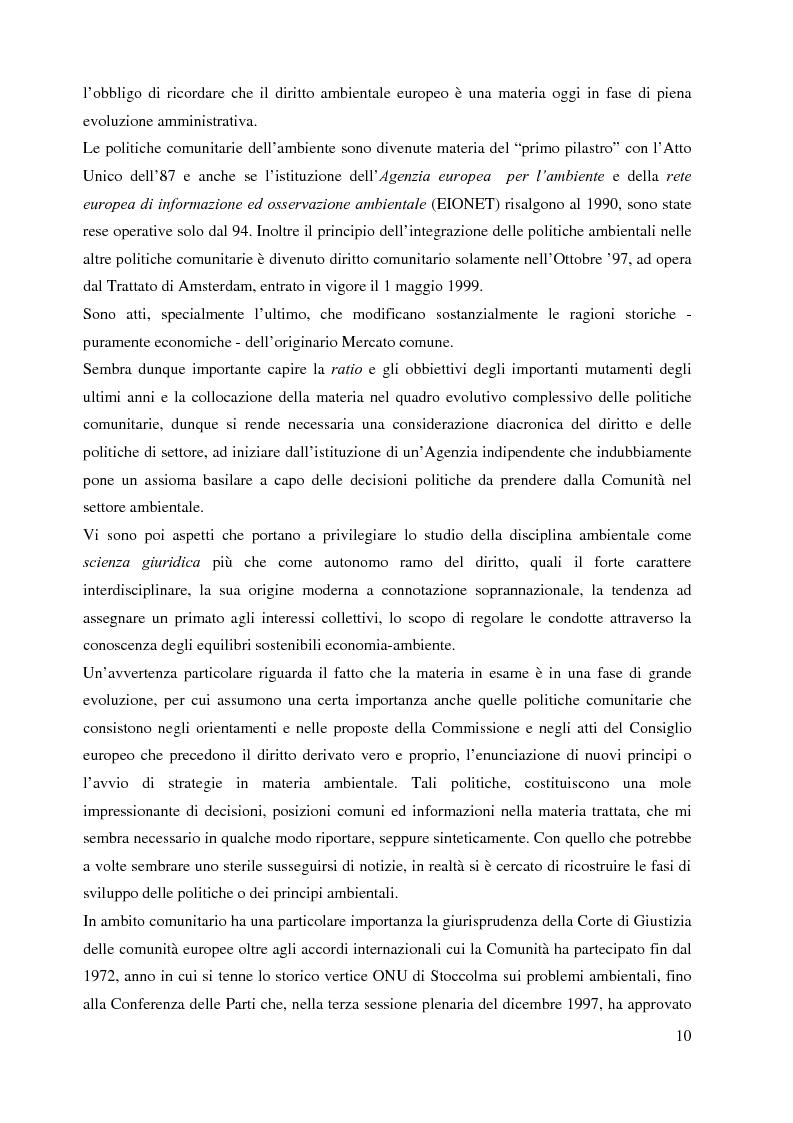 Anteprima della tesi: L'Agenzia Europea dell'Ambiente e il diritto ambientale comunitario, Pagina 10