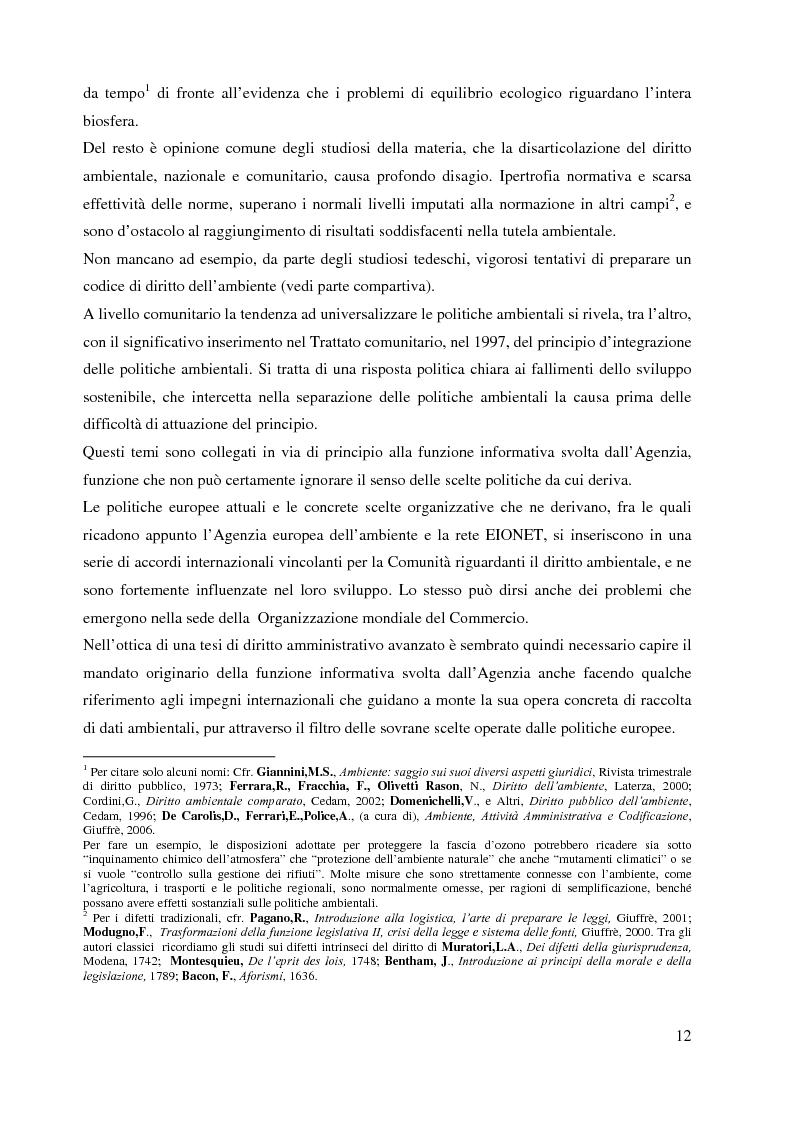 Anteprima della tesi: L'Agenzia Europea dell'Ambiente e il diritto ambientale comunitario, Pagina 12