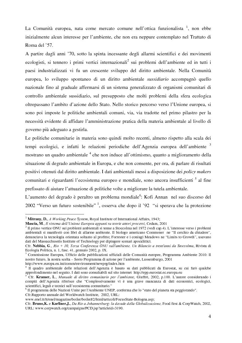 Anteprima della tesi: L'Agenzia Europea dell'Ambiente e il diritto ambientale comunitario, Pagina 4