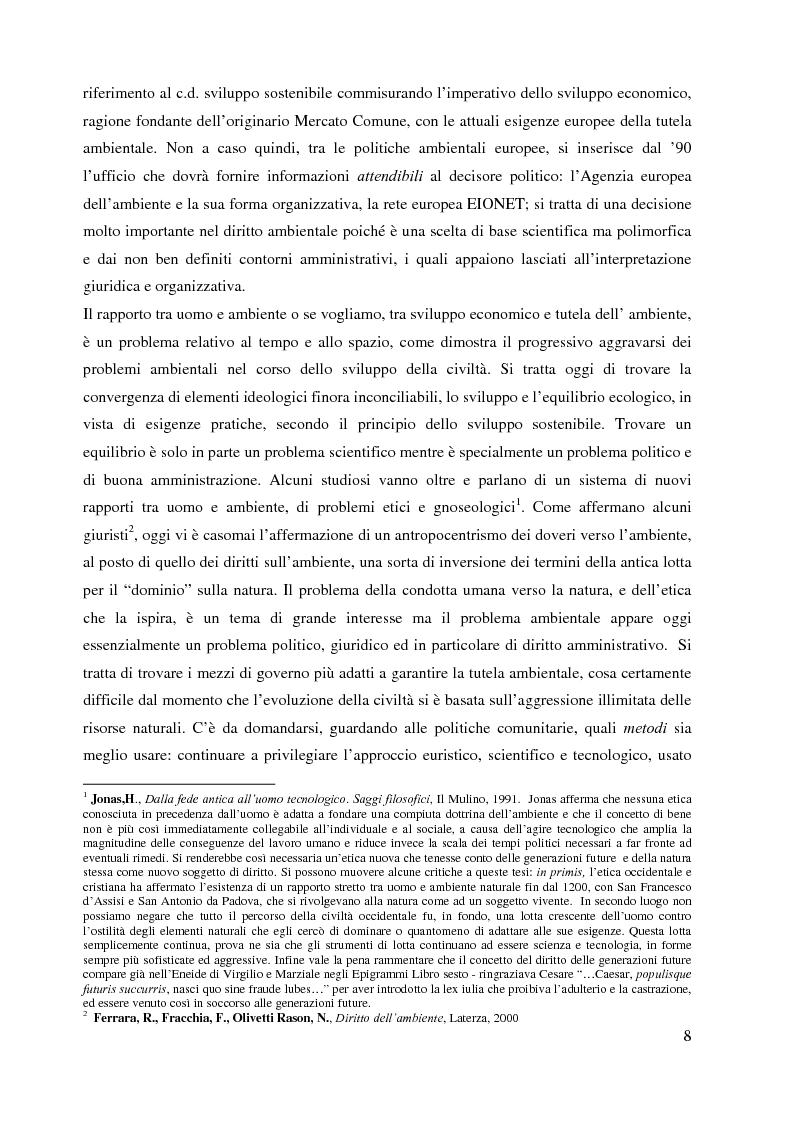 Anteprima della tesi: L'Agenzia Europea dell'Ambiente e il diritto ambientale comunitario, Pagina 8