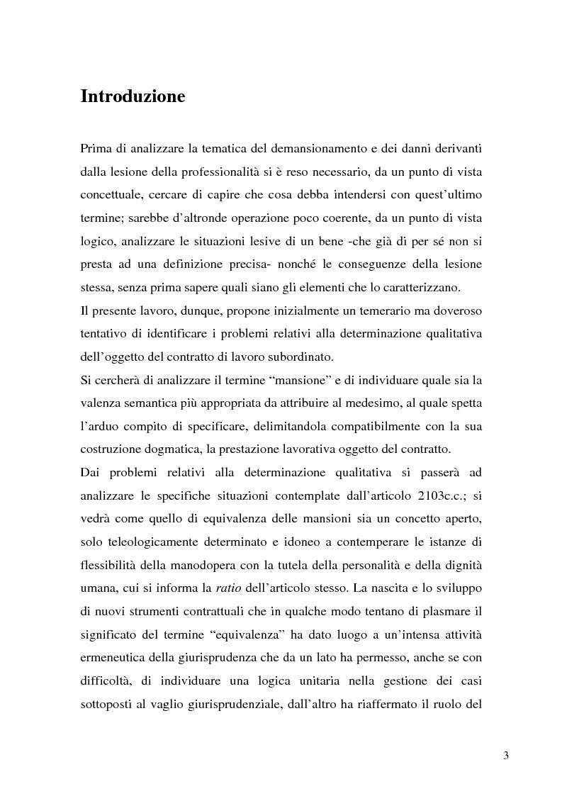 Anteprima della tesi: Il demansionamento nel rapporto di lavoro subordinato, Pagina 1