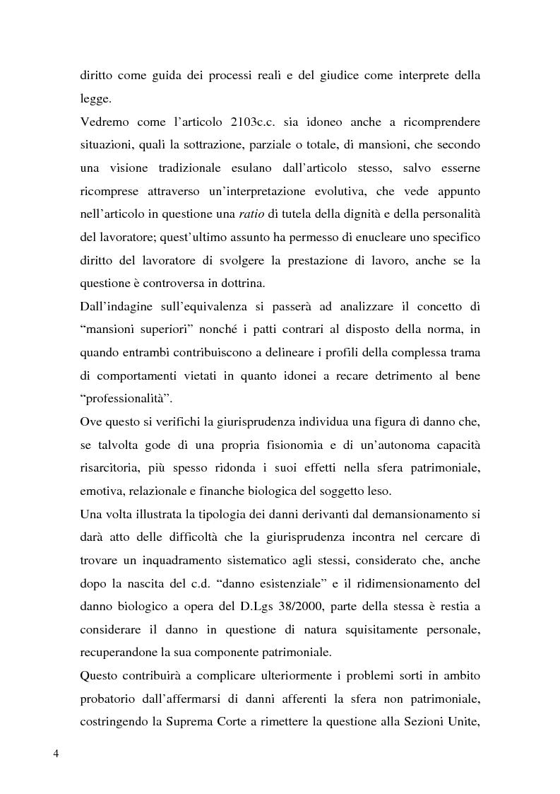 Anteprima della tesi: Il demansionamento nel rapporto di lavoro subordinato, Pagina 2