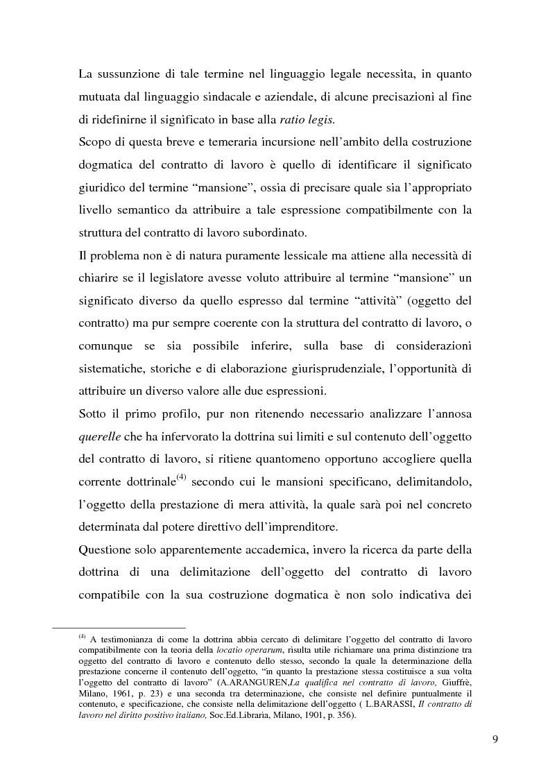 Anteprima della tesi: Il demansionamento nel rapporto di lavoro subordinato, Pagina 7