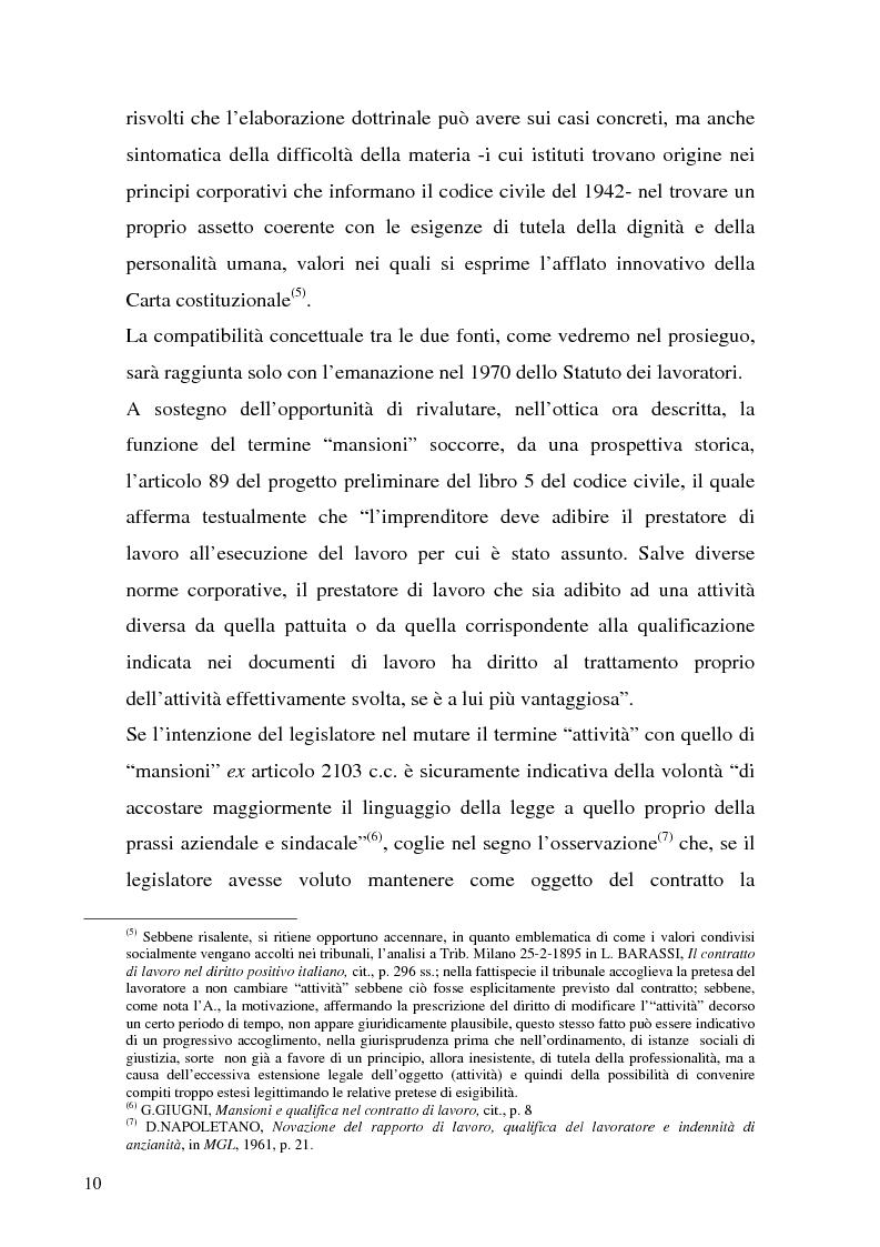 Anteprima della tesi: Il demansionamento nel rapporto di lavoro subordinato, Pagina 8