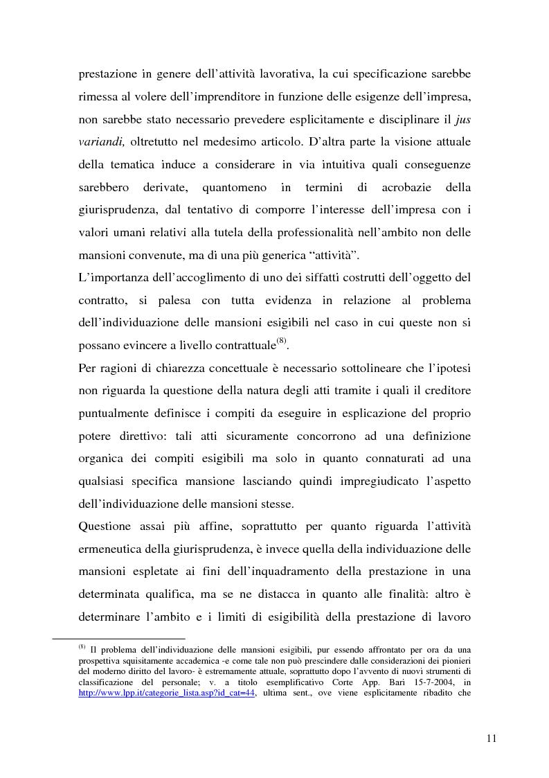 Anteprima della tesi: Il demansionamento nel rapporto di lavoro subordinato, Pagina 9