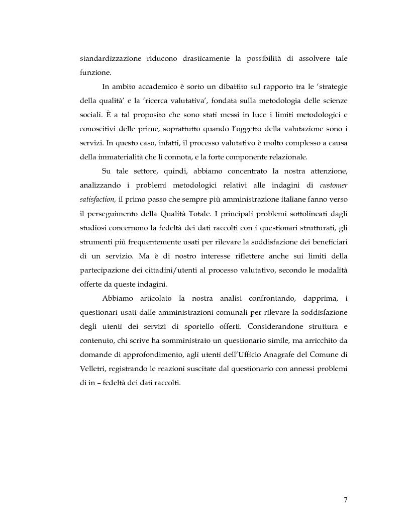 Anteprima della tesi: La Customer Satisfaction nella PA: problemi di fedeltà dei dati raccolti tramite questionario, Pagina 2